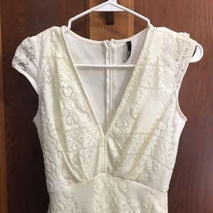 Lulu's Dresses - Lulus White lace rustic bridal dress
